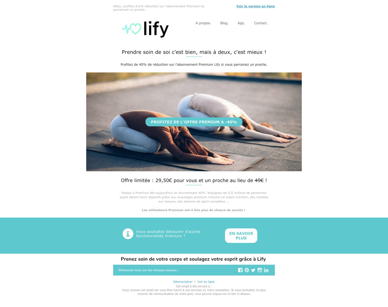 email offre parrainage Lify