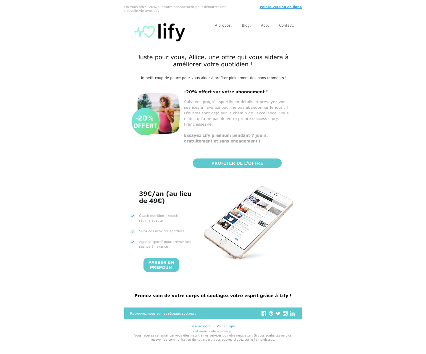 email offre premium lify